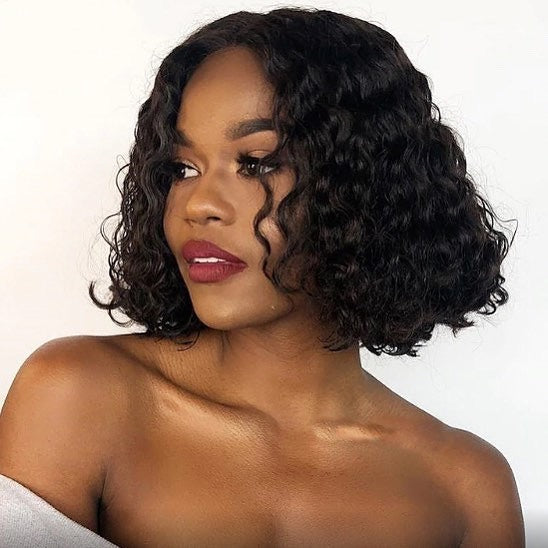 Surprisehair 9A Grade Middle Part Deep Curly Lace Bob Wig Lace Front