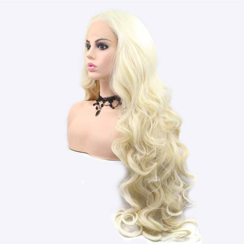 white synthetic lace wig with baby hair