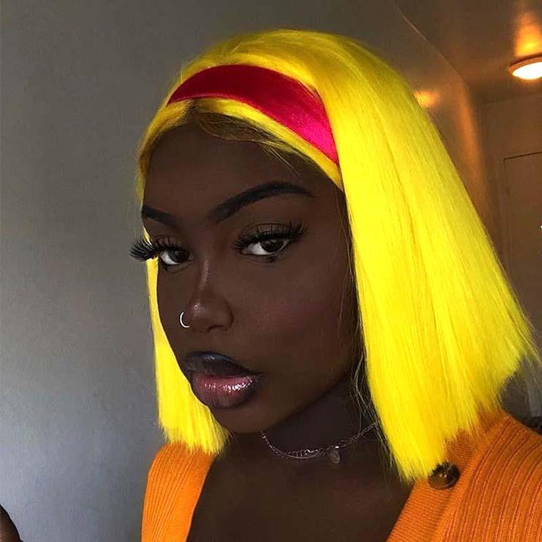 Yellow Bob Wig Human Hair Lace Wig 150% Density for sale Surprisehair