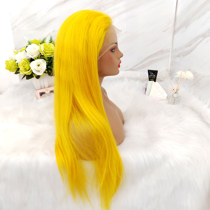 yellow color lace wig human hair