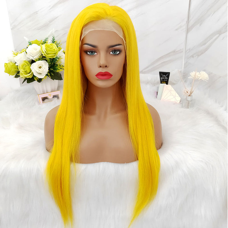Brazilian hair lace wig yellow color