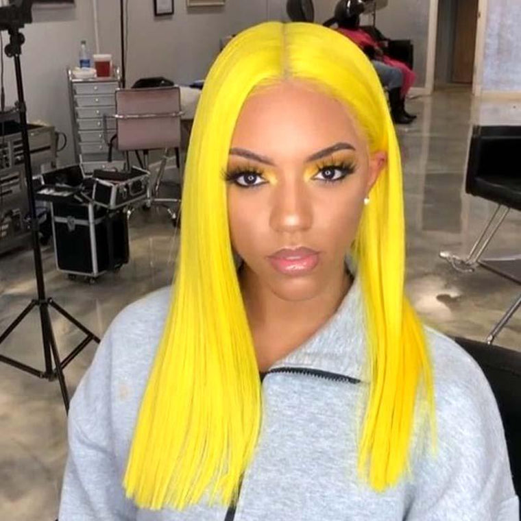 #Yellow Color 13x4 Lace Front Wig Human Hair Straight Surprisehair