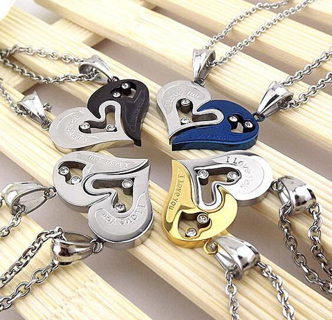 Paired Heart Love Stainless Steel Necklaces