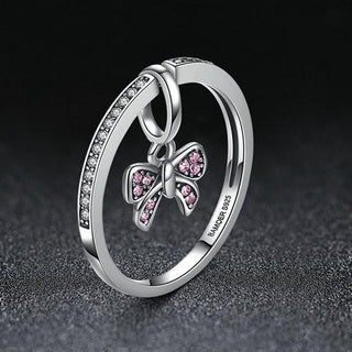 Pink Bow Knot 925 Sterling Silver Finger Ring