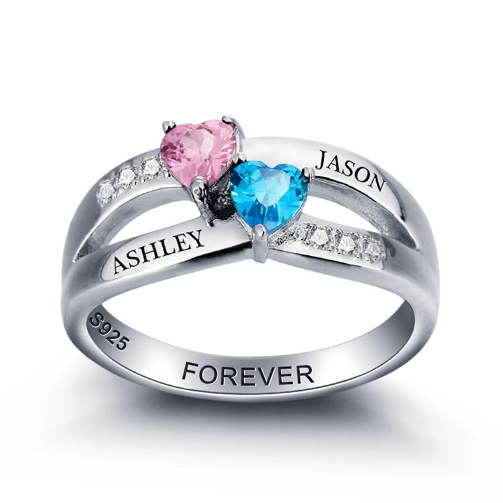 Personalized Silver Heart Birthstone 925 Sterling Ring