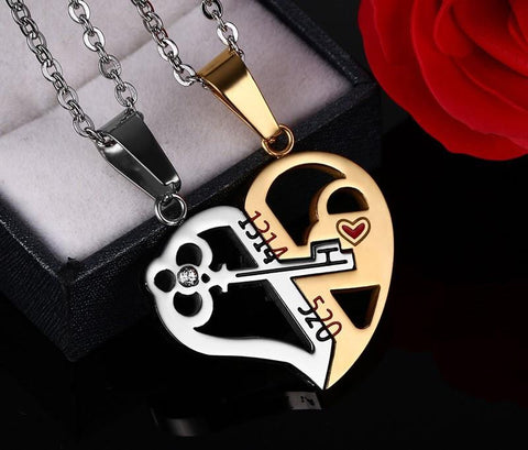 Heart Key Crystal Pendant Necklace