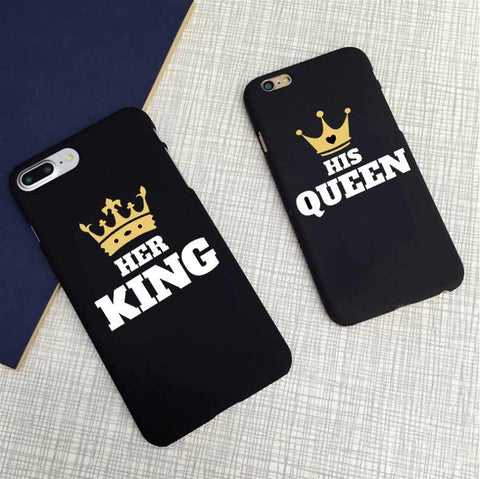 "Matte Cover for IPhone ""His Queen/Her King"""