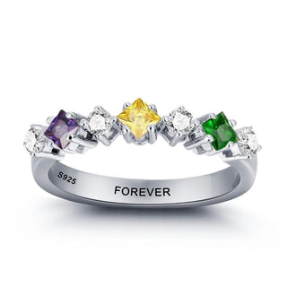Personalized Colorful 925 Sterling Rings
