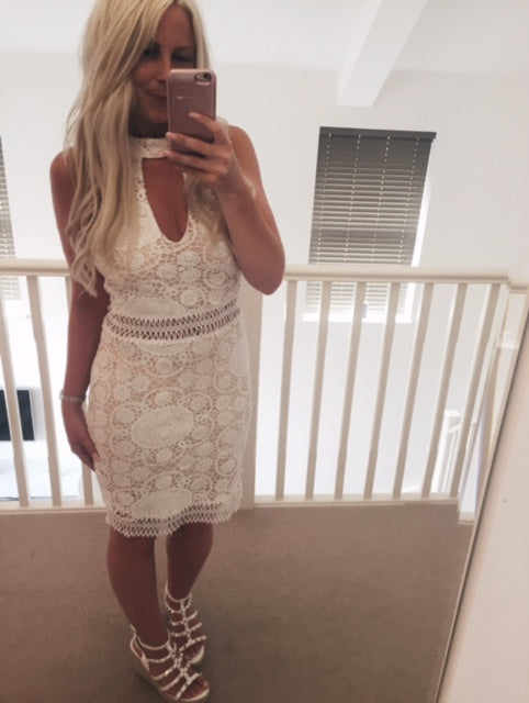 White Lace Choker Dress with Peach Underlining