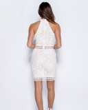 White Lace Choker Dress with Nude Underlining