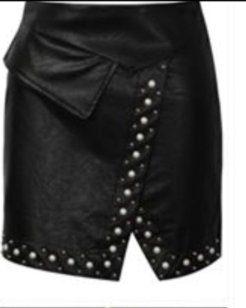 Black with Pearls Leather Look Mini