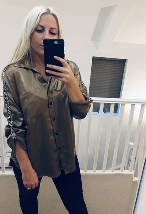Gold silky shirt