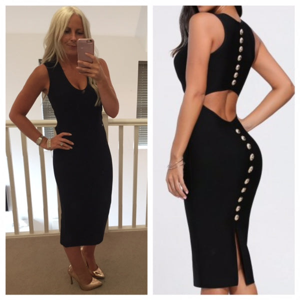 Limited Edition Black Back Button Bandage Dress With Plain Vest Style Front (Gold Buttons)