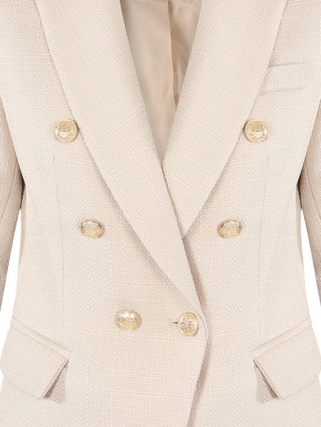 Double Breasted Beige Blazer