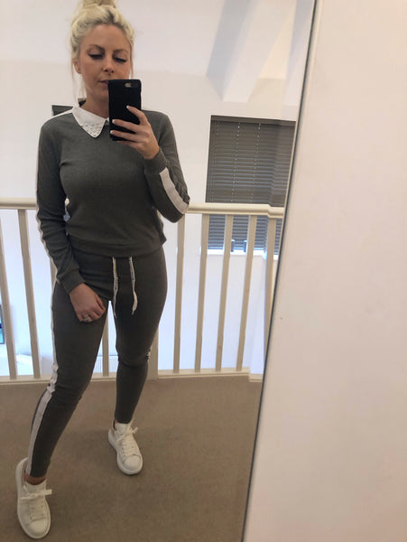Grey with White Stripe Loungewear with Pearl Collar