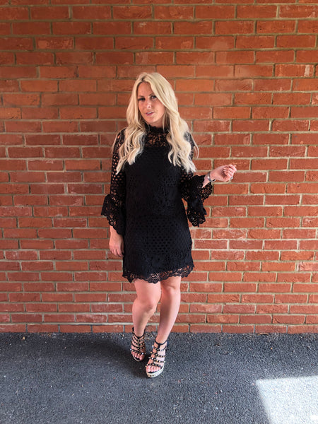 Lace Flute Sleeve Mini Dress