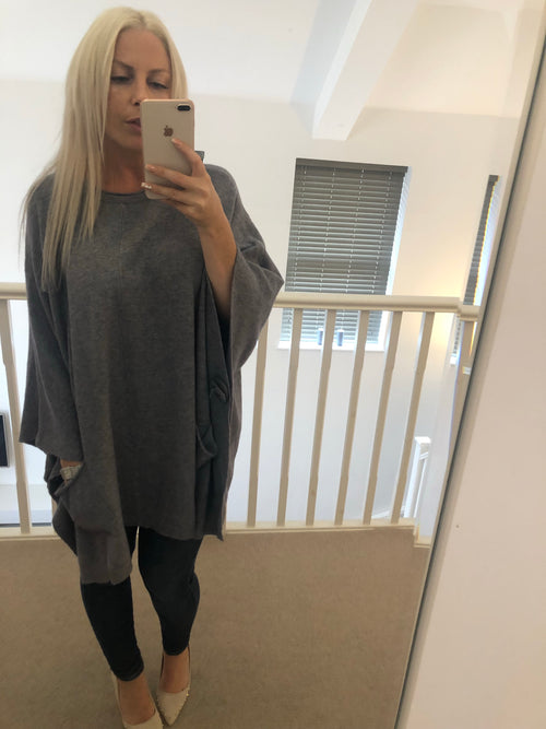 Oversized Button Detail Top or Poncho