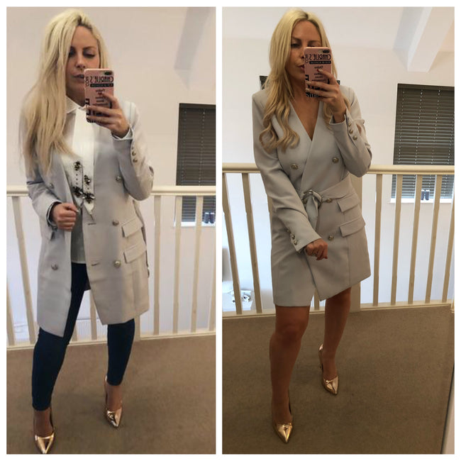Light Grey Double Breasted O Ring Coat, Jacket OR Dress