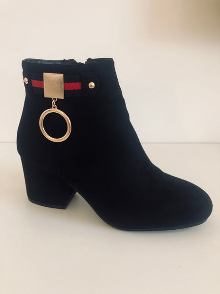 White Boots with Black Buckle