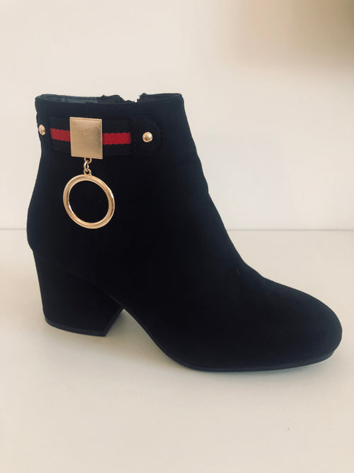 Gold Ring Black Boots with Red Stripe Detail