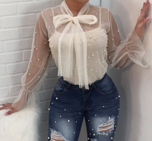 Pearl Bow Tie Sheer Top