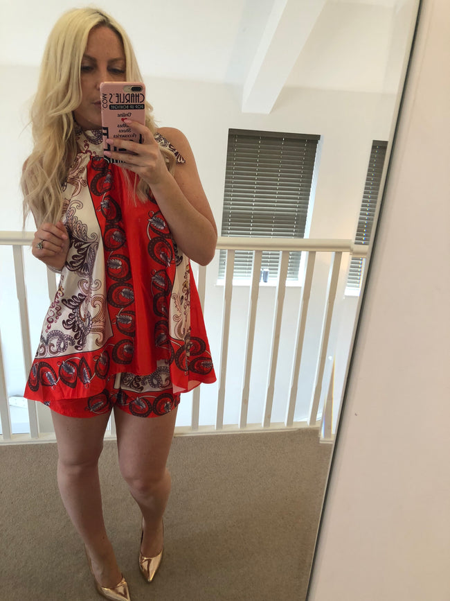 Royal Scarf Print Top and Shorts