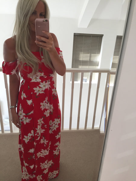 Red Floral Maxi Dress with Shorts Attached