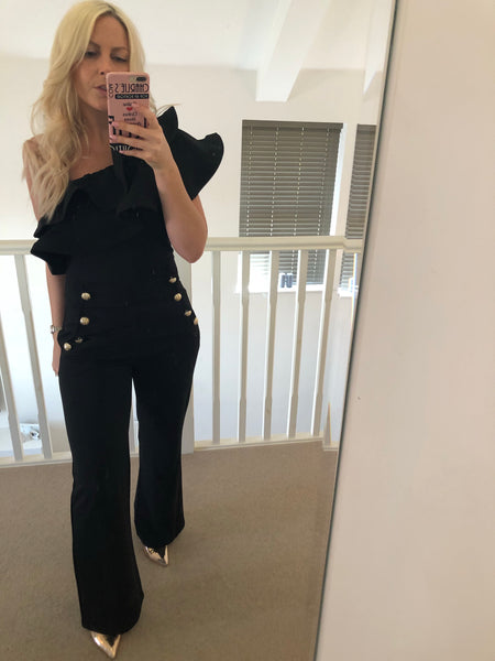 Ruffle Jumpsuit Wide Leg