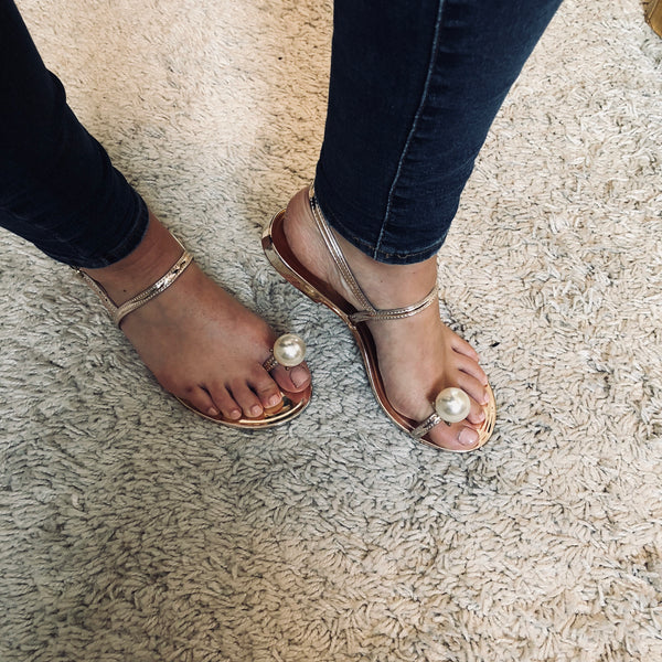 Rose Gold Pearl Sandals