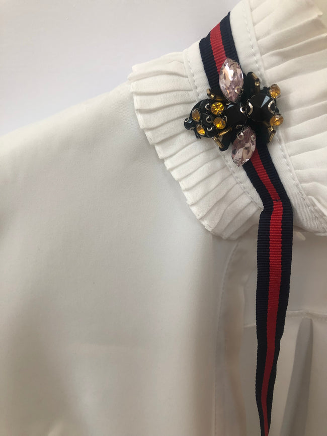 Stripe Tie White Shirt with Bee Detail