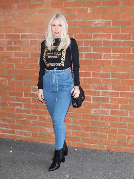 High Waisted Belted Skinny Jeans