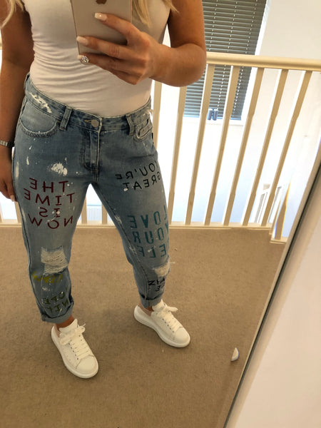Love Yourself Light Denim Boyfriend Jeans with Writing