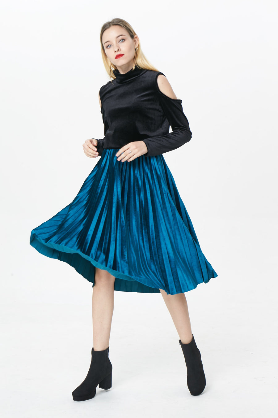 RIA Skirts Ariel velvet pleated skirt