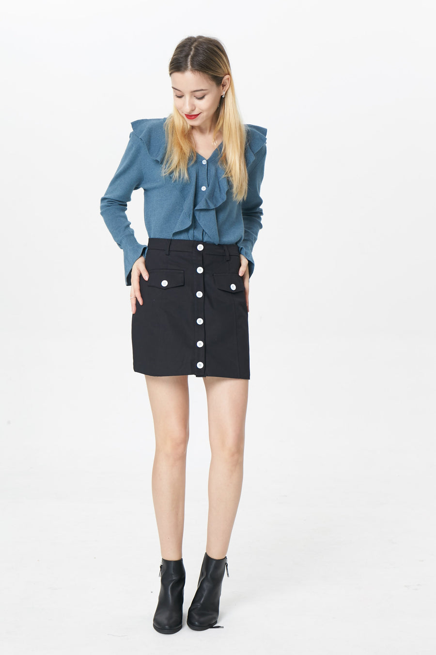 RIA Skirts Bailey button mini skirt