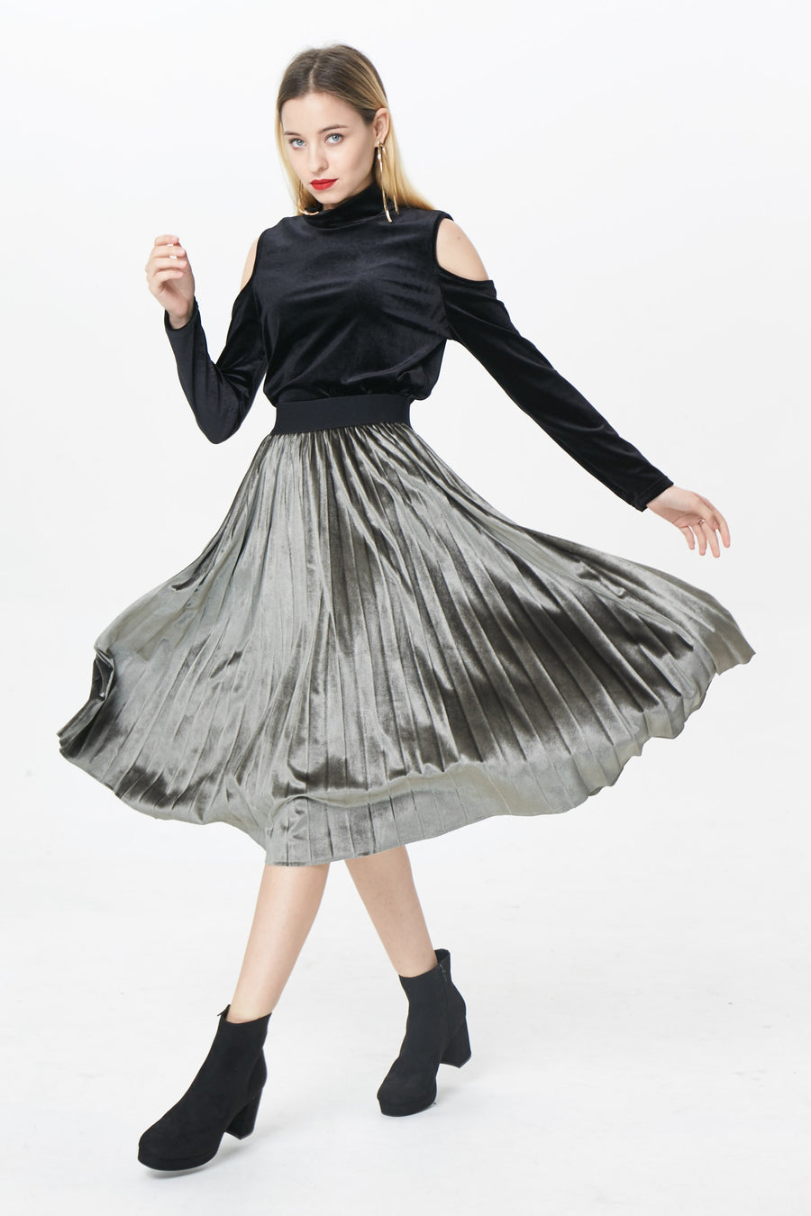 RIA Skirts London pleated velvet skirt