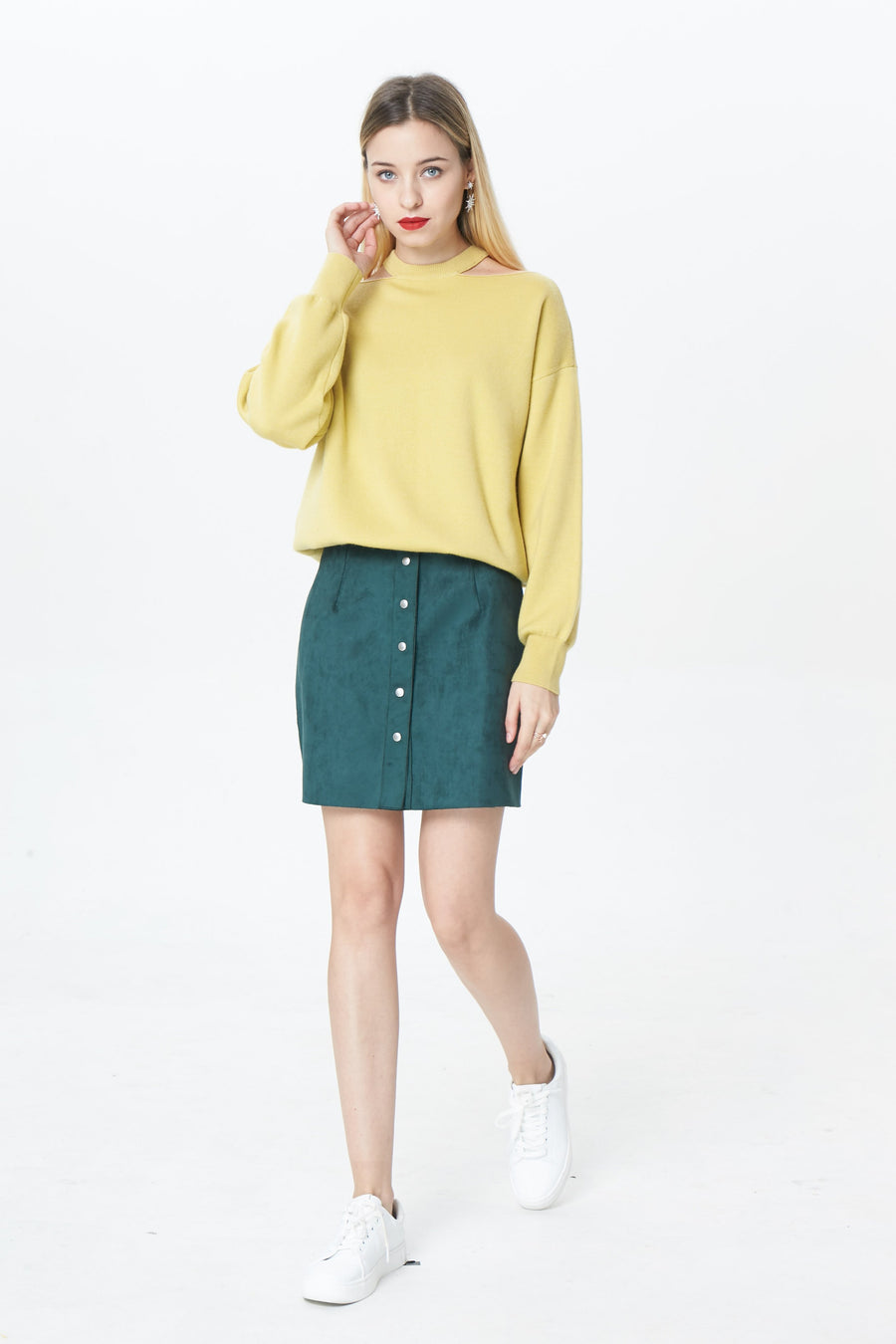 RIA Skirts Valentina button mini skirt