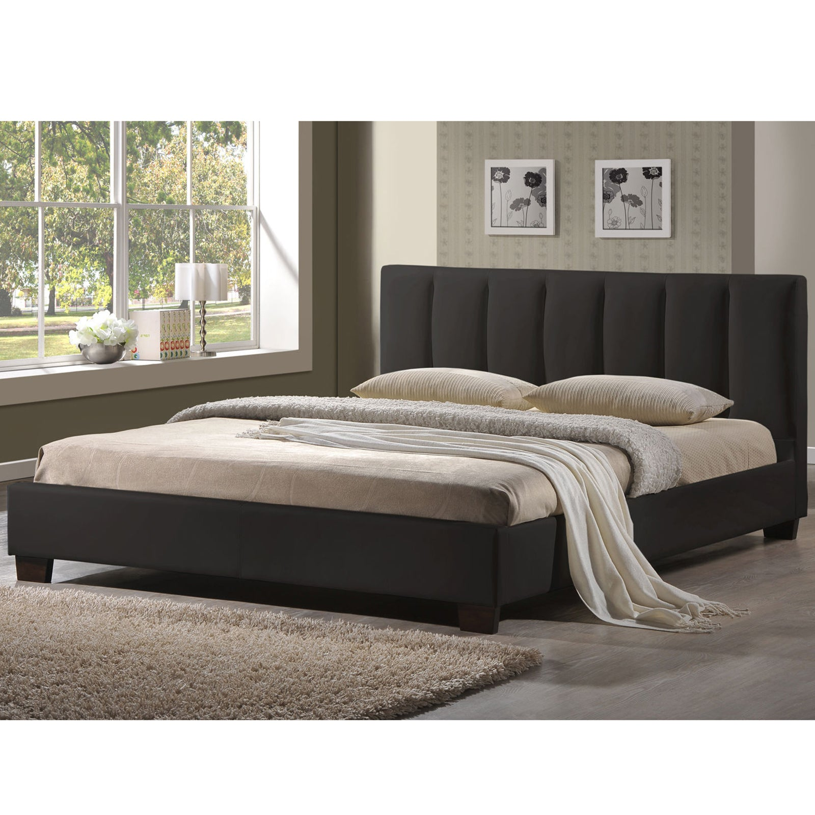 Persia Black PU Leather Bed Frame - Queen – Interiors Domain
