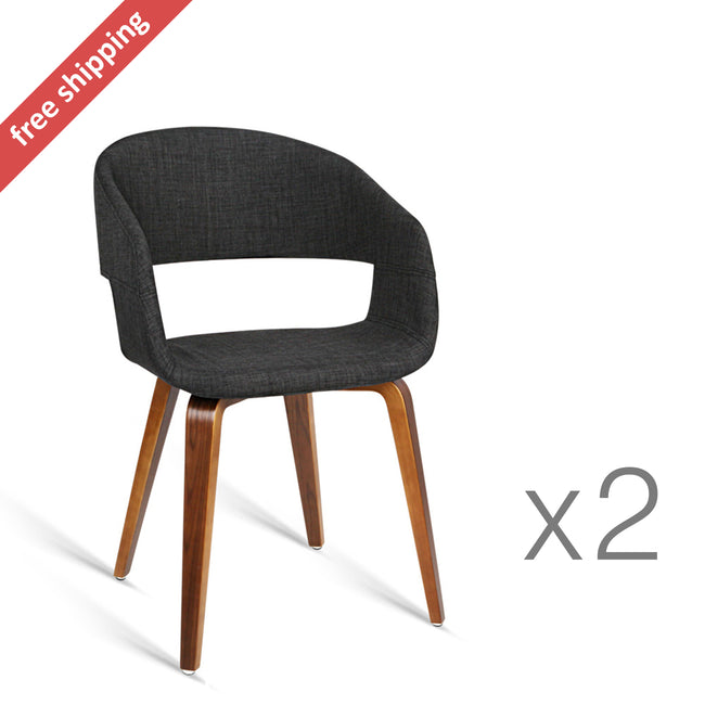 Charcoal Modern Dining Chairs   Set Of 2