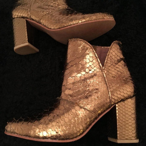 The Joey Metallic Snakeskin Boots - Bronze