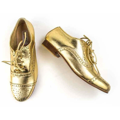 Jfahri Gold Leather Metallic Brogues