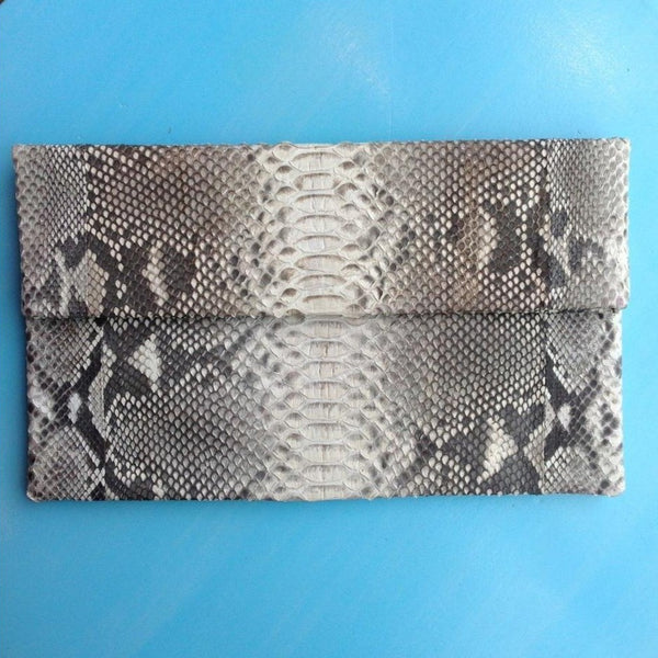 Snake Clutch - White & Grey