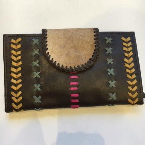 Jfahri large cowhide leather wallet - Brown with Pink Detail-Accessories-jfahristore