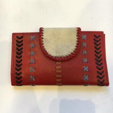 Jfahri large cowhide leather wallet - Red-Accessories-jfahristore