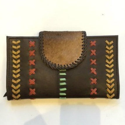 Jfahri large cowhide leather wallet - Brown with Mint Detail