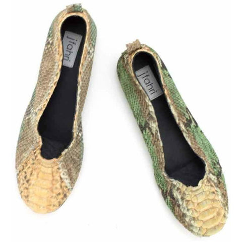 Jfahri Python  Ballet Flats - Green/Brown/Cream