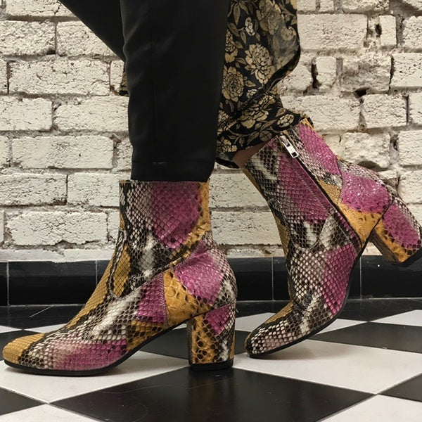 Sassy boots - Pink and mustard