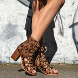 Gypsy Gladiator Sandals - Leopard-Shoes-jfahristore