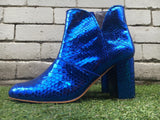 The Joey Metallic Snakeskin boots - Cobalt