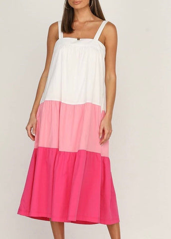 The splice dress - pink stripe