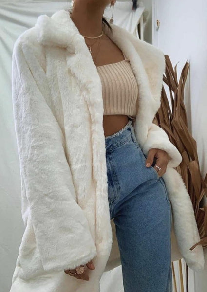 Maya Faux Fur Jacket - Winter White-Clothing-jfahristore